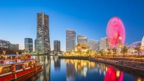 Yokohama Japan stadshorisont Minato Mirai på natten Arkivbild