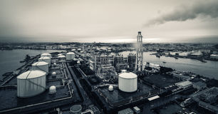 Yokohama LNG Town Gas Supplier in a rainy day Stock Photos