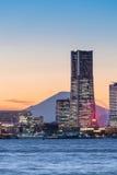 Yokohama Minato Mirai Bayside and Mountain Fuji stock photo