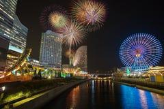 Yokohama minato mirai with beautiful firework Stock Image