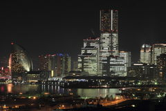Yokohama Minato Mirai 21 przy nocą Obrazy Royalty Free