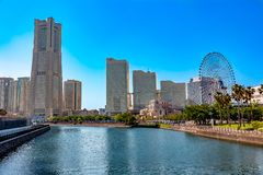 Yokohama Minatomirai waterfront from the canal royalty free stock photography