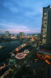 Yokohama nightscape. Asia. Japan. Yokogama. Sunset. Streetlights Royalty Free Stock Photography