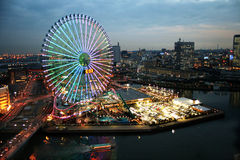 Yokohama nightscape. Asia. Japan. Yokogama. Sunset. Streetlights Royalty Free Stock Photos