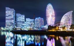 Yokohama skyline at night Stock Photography