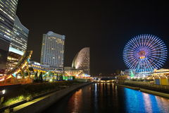 Yokohama skyline night view royalty free stock photography