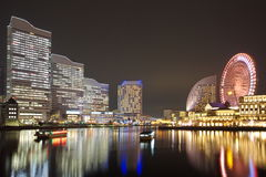 Yokohama skyline night view Royalty Free Stock Image