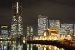 Yokohama skyline night view Stock Image