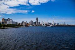 Yokohama skyline from Tokyo Bay 2 stock photos