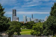 Yokohama skyline and Yamashita park stock images