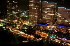 Yokohama-Stadt nachts Stockbild