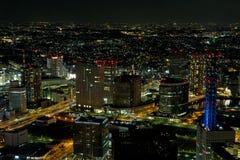 Yokohama-Stadt nachts in Japan Lizenzfreie Stockbilder