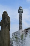Yokohama. Tower and a statue seen at the park in Yokohama, Japan Royalty Free Stock Photography