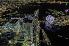 Yokohama vid natt Arkivfoton