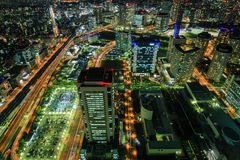 Yokohama vid natt Arkivfoto