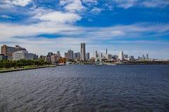 Yokohama waterfront skyline seen from Tokyo Bay Stock Photography