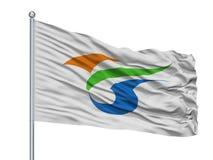 Yokote miasta flaga Na Flagpole, Japonia, Akita prefektura, Odizolowywająca Na Białym tle ilustracja wektor