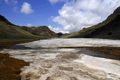 Yol Valley, Mongolia. Permanent ice in the Yol Valley, also known as Ice Valley, in southern Mongolia in the springtime stock images