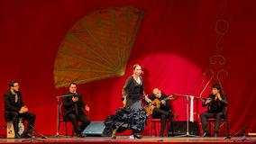 Yolanda Osuna - flamenco dancer. The flamenco dancer Yolanda Osuna during the show of Spain Day 2013 organized in Bucharest stock photos