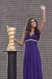Yolanthe Cabau van Kasbergen. Beautiful Yolanthe Cabau van Kasbergen with golden cup in Verona Arena for Giro d'Italia Royalty Free Stock Image