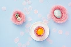 Yolk of broken egg in the shell in a white coffee cup on a sauce. R, and blue chicken and quail eggs decorated with a pink sisal and confetti on a blue Stock Photos