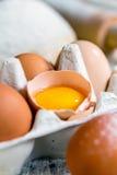 Yolk in a broken egg. Royalty Free Stock Images