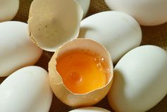 Yolk in crack brown egg on sackcloth. Background Royalty Free Stock Photo