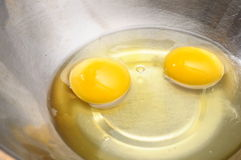 Yolk de ovo dois na bacia metálica fotos de stock royalty free