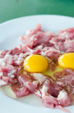 Yolk egg and raw meat. Raw meat and  fresh sliced pork , yolk egg  prepare for cooking Stock Image
