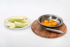 Yolk and egg white batter zucchini Stock Image
