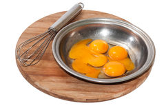 Yolk and egg white in a bowl and mixing wires Stock Photography