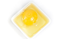 Yolk in a plate. Yolk in a white plate Stock Images