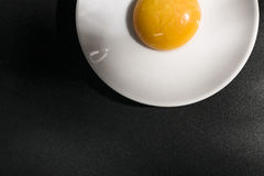 Yolk in a plate. Imitating a fried egg royalty free stock image