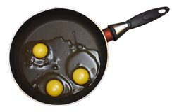 Yolks on the frying pan. Over white background Stock Photos
