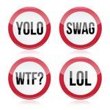 YOLO, swag, WTF, LOL подписывает Стоковые Изображения