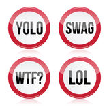 YOLO, swag, WTF, LOL  signs Stock Images