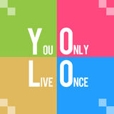 YOLO - Usted solamente Live Once Colorful Four Squares Foto de archivo
