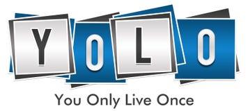 YOLO - Voi soltanto Live Once Blue Grey Blocks Fotografie Stock