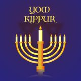 Yom Kippur banner or poster design, menorah with burning candles. On blue background Royalty Free Stock Images