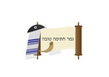 Yom Kippur Jewish fast day Greeting banner. Vector illustration with Kippa, Torah, Talit and Shofar Stock Images