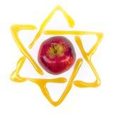 Yom kippur star of david. Honey and apple  traditonal food at yom kippur with a star of david Stock Photo