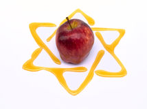 Yom kippur traditional food. Honey and apple  yom kippur breaking of the fast with star of david Stock Images