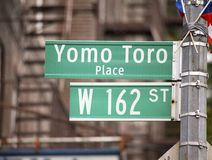 Yomo Toro Place sign to honor legendary musician Royalty Free Stock Photos
