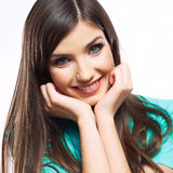 yong妇女偶然画象,微笑,美好的模型画象  库存照片
