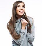 yong妇女偶然画象,微笑,美好的模型画象  免版税库存照片