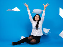Yong beautiful businesswoman throwing paper away Stock Images