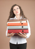 Yong businesswoman with folder Royalty Free Stock Photography