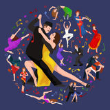 Yong couple man and woman dancing tango with passion,  dancers vector illustration isolated Royalty Free Stock Photos