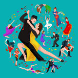 Yong couple man and woman dancing tango with passion,  dancers vector illustration isolated Royalty Free Stock Image