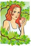 Yong-Frauen mit einem Apfel stockfoto